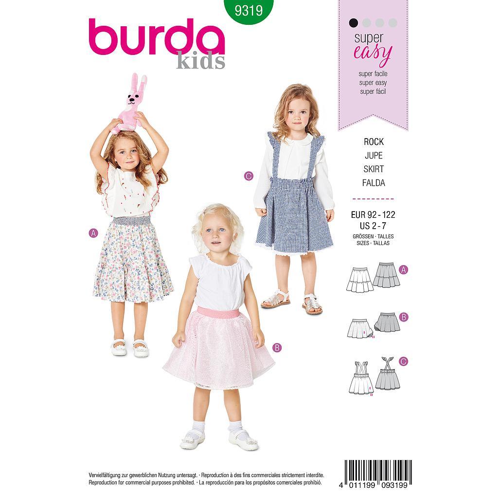 e71c0dee8 Patrón Burda 9319 - Falda para niñas de 2 a 7 años