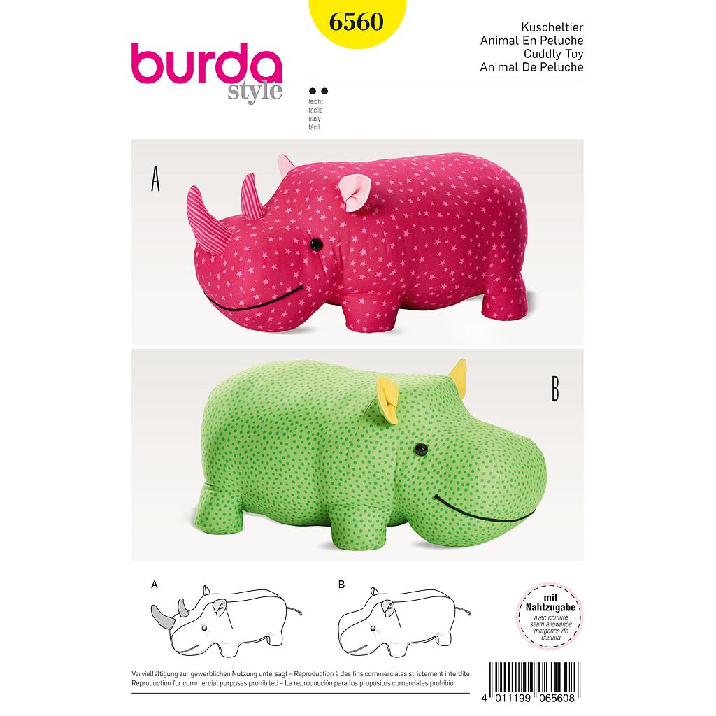 Patron Burda 6560 Animal en peluche