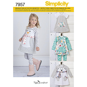Patron Simplicity 7957 Robe et ensemble fillette : A
