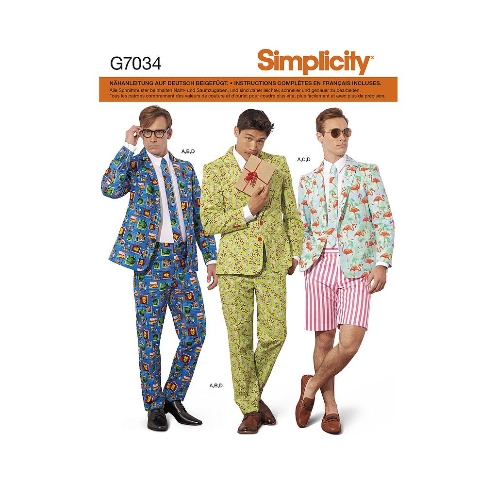 Patron Simplicity 7034  Costume homme