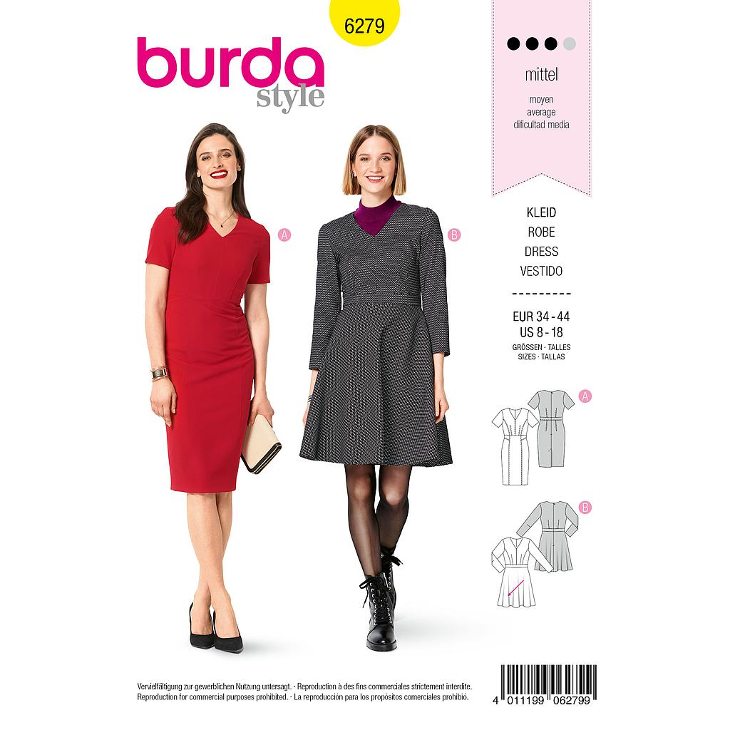 Patron Burda 6279 Robe 2 versions de 36 à 46