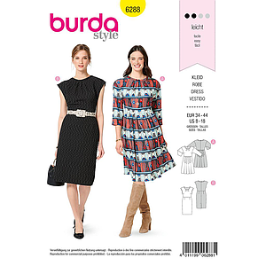 Patron Burda 6288 Robe en 2 versions de 36 à 46