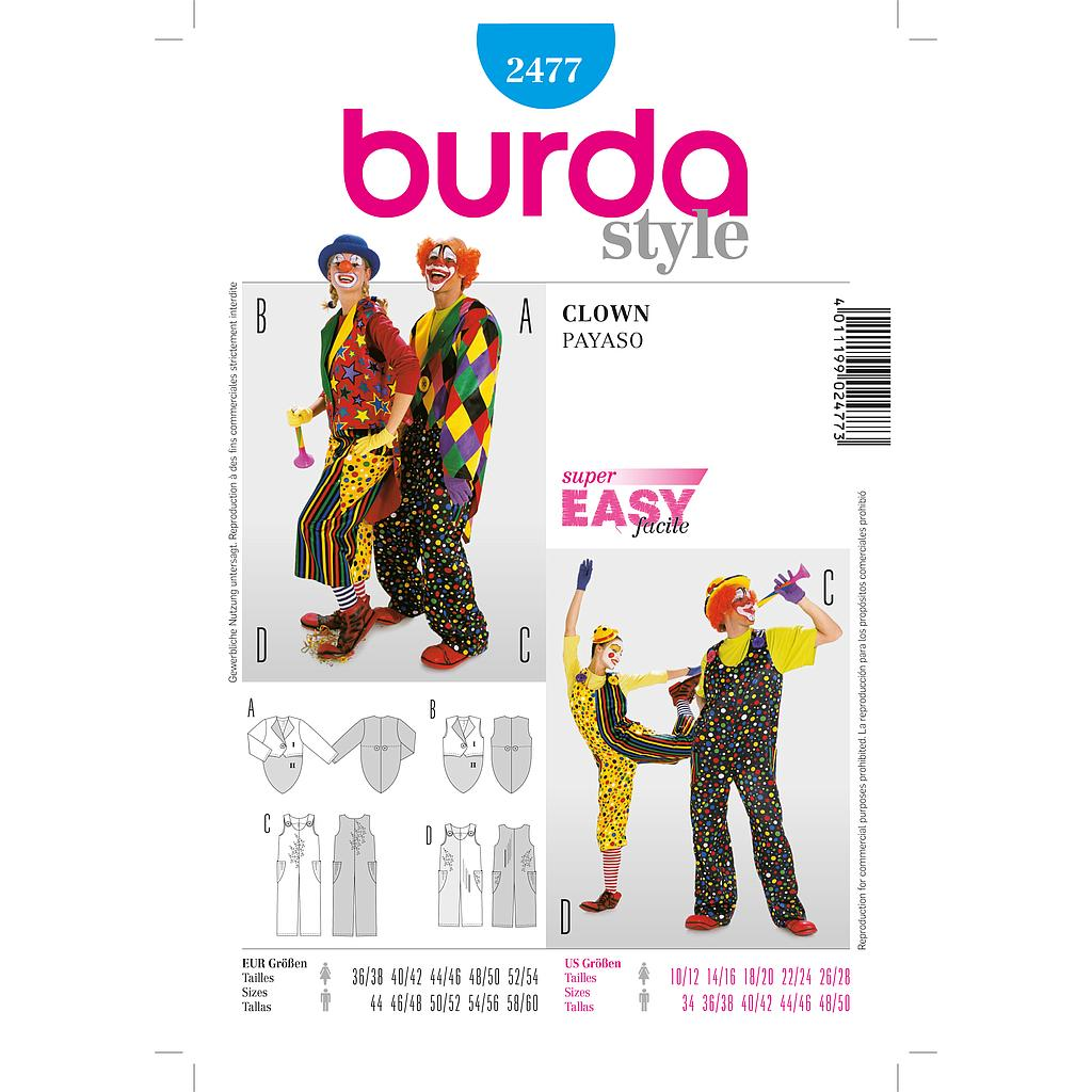 Patron Burda 2477 Carnaval Clown