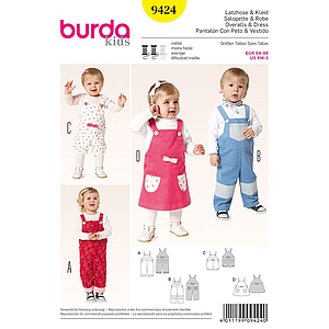 Patron Burda 9424 Kids Salopette et robe