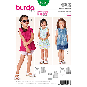 Patron Burda 9416 Kids Robe et T-shirt fille